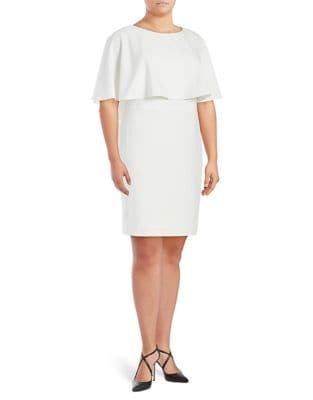 Plus Cape-Sleeve Dress by Calvin Klein