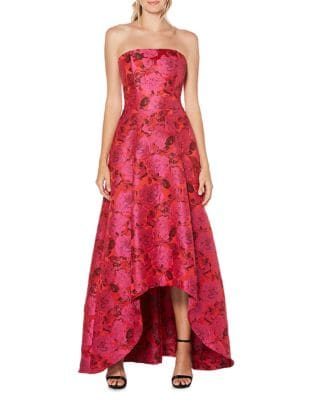 Strapless Floral Hi-Lo Gown 500087839083
