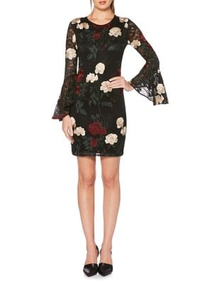 Floral Embroidered Flounce-Sleeve Dress by Laundry by Shelli Segal