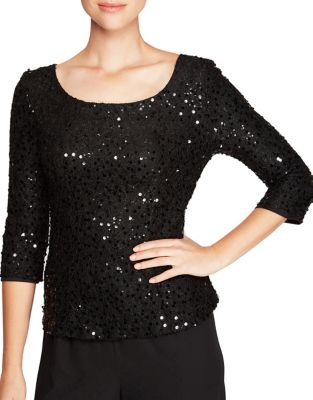 Plus Sequin Three-Quarter Sleeve Blouse by Alex Evenings