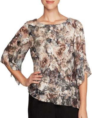 Plus Floral Asymmetric Blouse by Alex Evenings