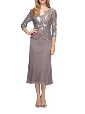 Two-Piece Sequined Popover Gown and Jacket by Alex Evenings