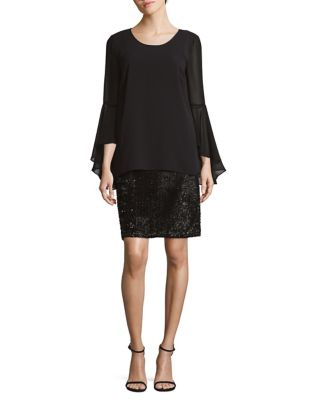 Bell-Sleeve Sheer Dress by Nic+Zoe