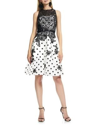 Floral Polka Dot Dress by Theia