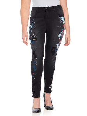 Plus High Rise Splatter-Print Jeans 500087846858