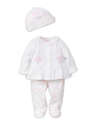 Baby Girls ThreePiece Floral Embroidered Hat Top and Footed Bottoms Set