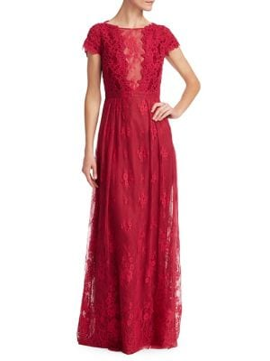 Open-Back Lace Gown by ML Monique Lhuillier