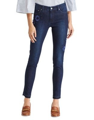 Petite Floral Skinny Crop Jeans 500087853017