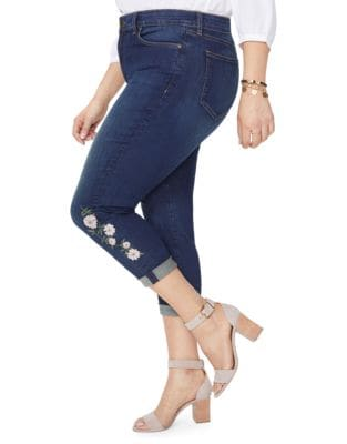 Plus Alina Embroidered Rolled Cuff Ankle Jeans 500087855662