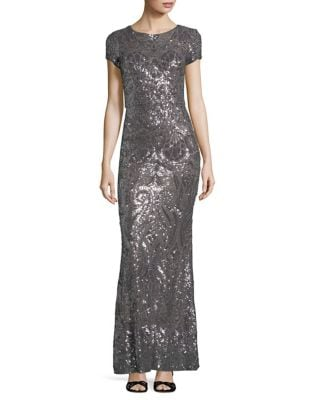 Sequined Floor-Length Gown by Betsy & Adam