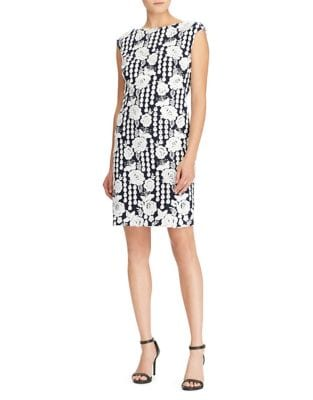 Floral Geometric-Lace Sheath Dress by Lauren Ralph Lauren