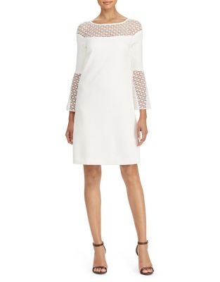 Crochet Lace-Trim Crepe Dress by Lauren Ralph Lauren