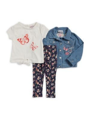 Baby Girls ThreePiece Denim Jacket Set