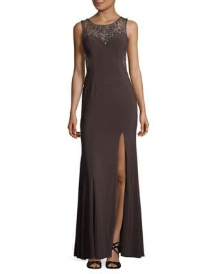 Beaded Floor-Length Gown by Betsy & Adam
