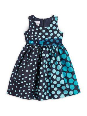 Girls Gradient Polka Dots Sleeveless Dress