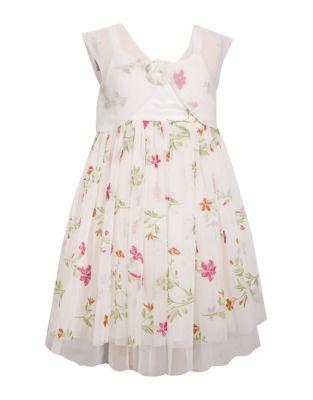 Little Girls Floral Embroidered Dress