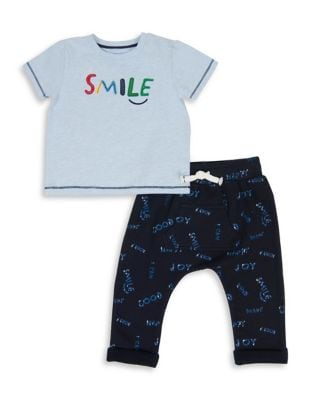 Baby Boys TwoPiece Heathered Top and Printed Pants Set