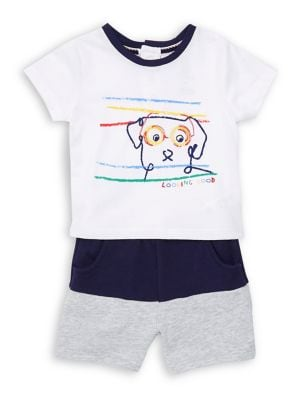 Baby Boys TwoPiece DogPrint Cotton Polo and Shorts Set