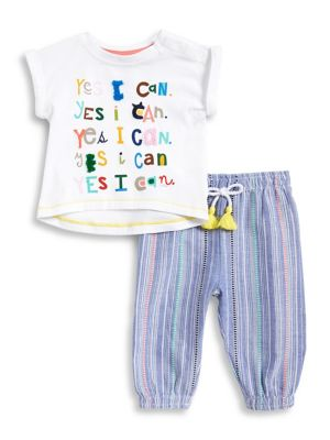 Baby Girls TwoPiece Striped Cotton Top and Pants Set