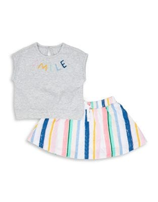 Baby Girls TwoPiece Smile Cotton Top and Skirt Set