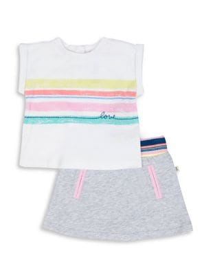 Baby Girls TwoPiece Striped Top and Skirt Set