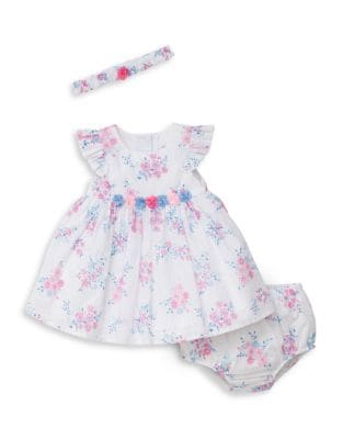Baby Girl's Three-Piece Whimsical Dress, Bloomer and Headband Set 500087864065