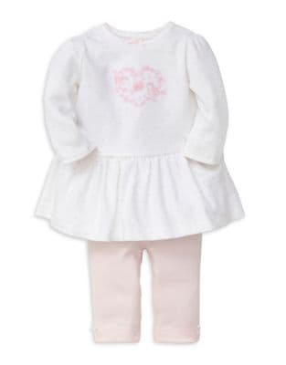 Baby Girls Sweetheart TwoPiece LongSleeve Cotton Top and Pants Set
