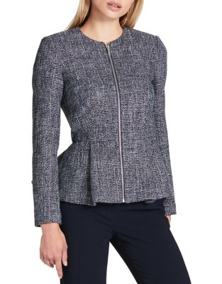 Tweed Peplum Zip Jacket...