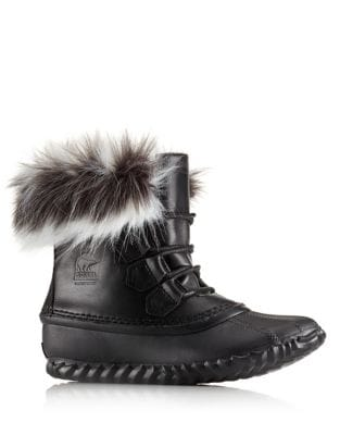 Outnabt Leather Boots With Faux Fur Trim by Sorel