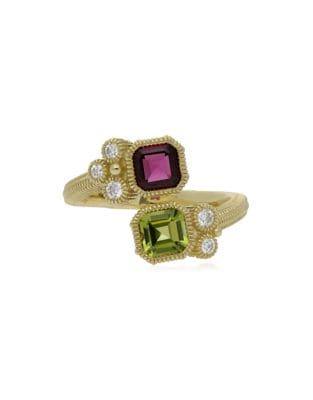 Boca Double Cushion Shape Rhodolite, Peridot and 14K Yellow Gold Wrap Ring, 0.17 TCW 500087875535
