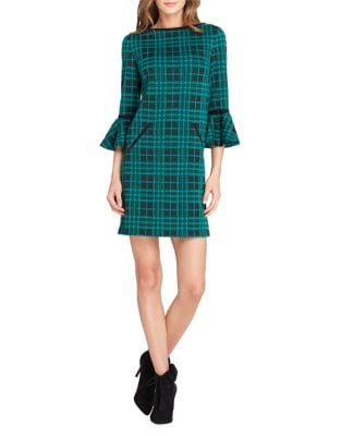 Petite Petite Plaid Bell Sleeve Shift Dress by Tahari Arthur S. Levine