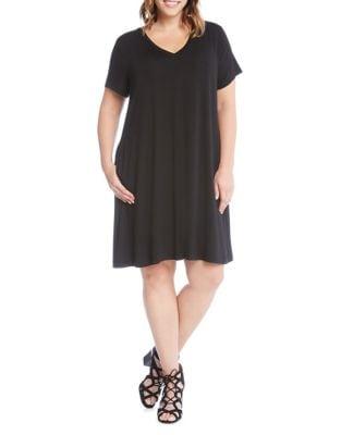 Plus V-Neck Short-Sleeve Dress 500087882301