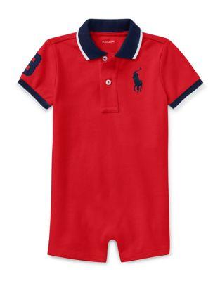 Baby Boys Mesh Novelty Cotton Polo Shortall