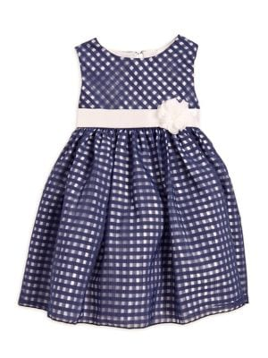 Little Girl's Check-Print and Flower Dress 500087893099