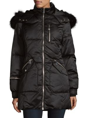Fox Fur-Trimmed Quilted Coat 500087902008