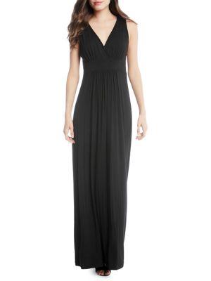 Ruched V-Neck Maxi Dress 500087908178