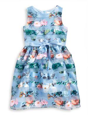 Little Girl's Mesh-Stripe...