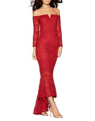 Glittered-Lace Mermaid Gown by QUIZ