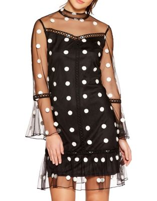 Mesh Polka Dot Dress by QUIZ