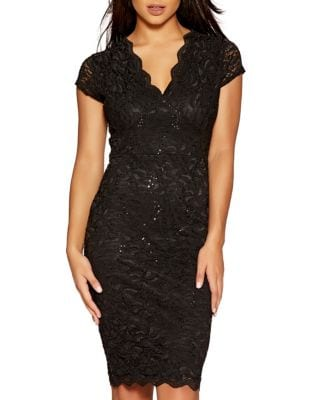Scalloped Lace Midi Dress by QUIZ