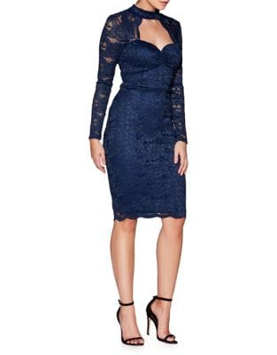 Cutout Lace Midi Dress by QUIZ