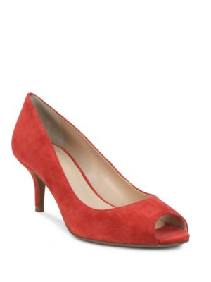 Janna Suede Open-Toe Pumps by Tahari