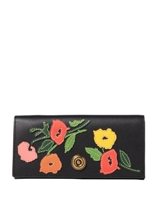 Large Floral Leather Continental Wallet 500087929141
