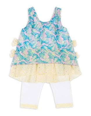 Little Girls TwoPiece Sequined Skimmer and LaceTrimmed Leggings Set