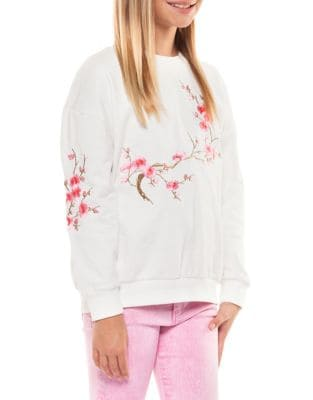 Girl's Floral Embroidered...