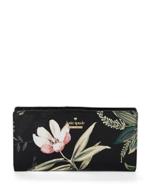 Floral-Print Leather Continental Wallet 500087930325