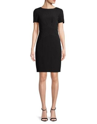 Short Sleeve Pinstripe Sheath Dress by Tahari Arthur S. Levine