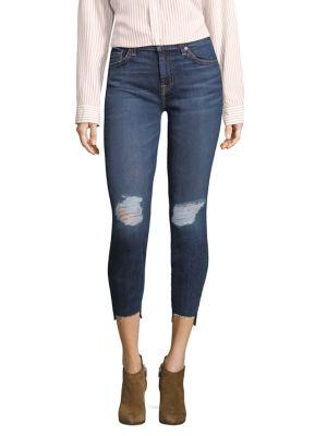Distressed Step Hem Ankle Skinny Jeans 500087931231