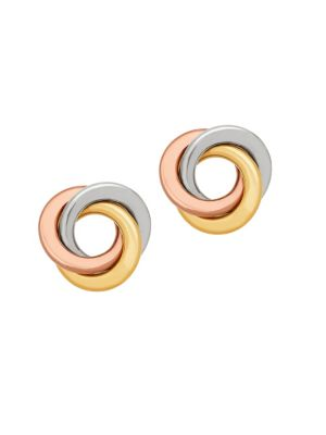 14K Yellow and White Gold Flat Love Knot Earrings 500087938490