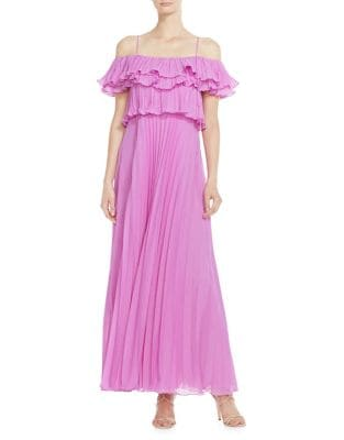Off-The-Shoulder Pleated Maxi Dress 500087941740
